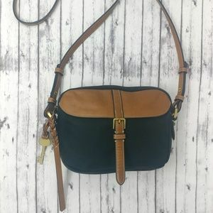 FOSSIL-Black and Brown Leather Crossbody Handbag